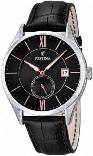 F16872/4 Festina Watch Mens Black Round Leather Strap Watch